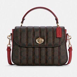 Coach Marlie Top Handle Satchel In Signature Canvas Handbag Bag Brown Red $450